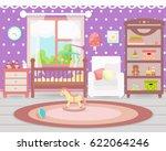 baby room interior. flat design.... | Shutterstock .eps vector #622064246