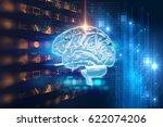 3d rendering of human  brain on ... | Shutterstock . vector #622074206