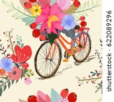 seamless pattern with bike and... | Shutterstock .eps vector #622089296