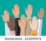 raised up hands. people vote... | Shutterstock .eps vector #622099676
