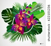 tropical leaves with orchid... | Shutterstock .eps vector #622101236