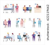 people characters in hospital... | Shutterstock .eps vector #622119662