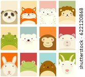 Stock vector banners backgrounds flyers placards in hand drawn style with cute animals poster for 622120868
