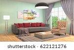 interior living room. 3d... | Shutterstock . vector #622121276