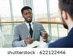 confident manager explaining... | Shutterstock . vector #622122446