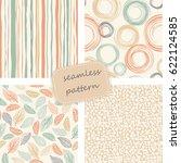 set of 4 vintage seamless... | Shutterstock .eps vector #622124585