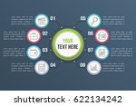 infographic template with eight ... | Shutterstock .eps vector #622134242