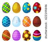 easter eggs spring colorful... | Shutterstock .eps vector #622144646
