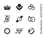 jewelry icons set. black on a... | Shutterstock .eps vector #622153472
