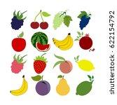 fruit icons set. apple. cherry. ...   Shutterstock . vector #622154792