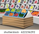 shelf with fruits in the... | Shutterstock .eps vector #622156292