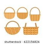 Wicker Baskets Set On White...