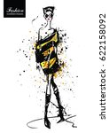 fashion girl in sketch style.... | Shutterstock .eps vector #622158092