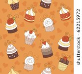 seamless pattern with cute cakes | Shutterstock .eps vector #62215972