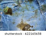 dirty black oil stain on jean... | Shutterstock . vector #622165658