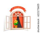 opened window with flower | Shutterstock .eps vector #622173605