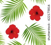 red hibiscus and palm leaves... | Shutterstock .eps vector #622175816