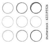 set of 9 hand drawn circles... | Shutterstock . vector #622195526