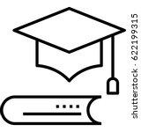 mortarboard vector icon | Shutterstock .eps vector #622199315