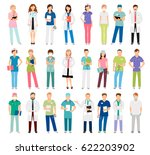 female and male doctors and... | Shutterstock .eps vector #622203902