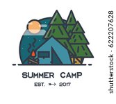 summer camp flat style line... | Shutterstock .eps vector #622207628