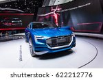 Small photo of FRANKFURT, GERMANY - September 23, 2015: Audi e-tron quattro concept presented on the 66th International Motor Show in the Messe Frankfurt