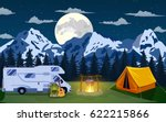 family adventure camping... | Shutterstock .eps vector #622215866