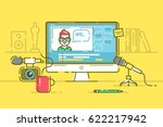 workplace of blogger or video... | Shutterstock .eps vector #622217942