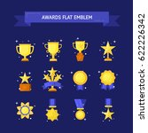 vector trophy  medals  cups and ... | Shutterstock .eps vector #622226342
