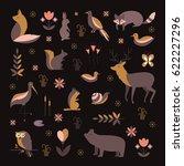 vector set of forest animals... | Shutterstock .eps vector #622227296