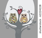 two owls and love tree | Shutterstock .eps vector #62224228