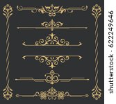 set of gold calligraphical ... | Shutterstock .eps vector #622249646