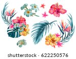 Tropical flowers, palm leaves, jungle leaf, bird of paradise flower, hibiscus. Vector exotic illustrations, floral elements isolated, Hawaiian bouquet for greeting card, wedding, wallpaper | Shutterstock vector #622250576