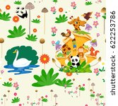 seamless pattern with animals... | Shutterstock .eps vector #622253786