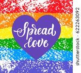 spread love. gay pride slogan...   Shutterstock .eps vector #622263092