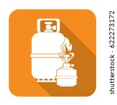 camping stove with gas bottle...   Shutterstock .eps vector #622273172
