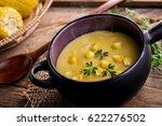 corn soup in bowl on wooden | Shutterstock . vector #622276502