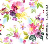 Stock photo spring pattern with flowers and plants watercolor floral illustration seamless pattern 622285265