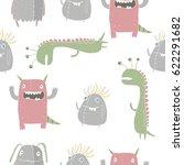 cute monster print | Shutterstock .eps vector #622291682