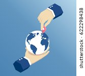 one hand holds the planet earth ... | Shutterstock .eps vector #622298438