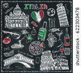 italy landmark food set.vintage ... | Shutterstock .eps vector #622303478