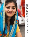 Small photo of BRESCIA, ITALY - APRIL 15, 2017: Sikh woman takes part in the annual Vaisakhi parade to celebrate the first harvesting of the year and the creation of Khalsa.