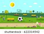 park with football ball   Shutterstock .eps vector #622314542