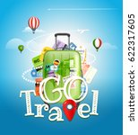 go travel concept. travel bag... | Shutterstock .eps vector #622317605
