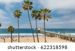 palm trees on manhattan beach... | Shutterstock . vector #622318598