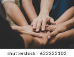 business teamwork join hands... | Shutterstock . vector #622322102