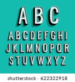retro alphabet. vector... | Shutterstock .eps vector #622322918