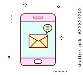 smartphone line icon with... | Shutterstock .eps vector #622324202