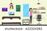 teenager room in the house.... | Shutterstock .eps vector #622324382