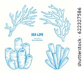 set of marine nature elements... | Shutterstock .eps vector #622327586